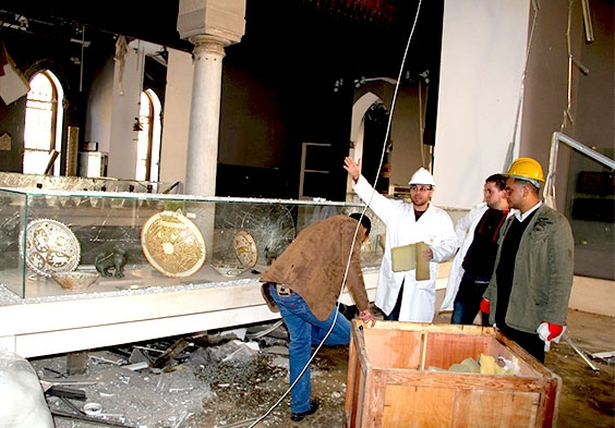 Photo: Egyptian Heritage Rescue Team responds after bomb-blast damaged Cairo's Museum of Islamic art, January 2014