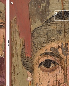 "(a) Color image of the Fayum painting ""Portrait of a woman"", c. 2nd century AD  (b) Detail of the painting, illustrating different application methods of the heated wax-based paint resulting in distinct surface topography"